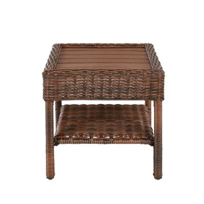 Cambridge Brown Wicker Square Outdoor Side Table