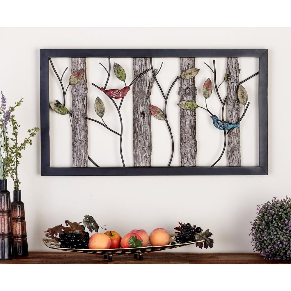 Natural Tin And Wood Multi Colored Birds On Vines Wall Plaque