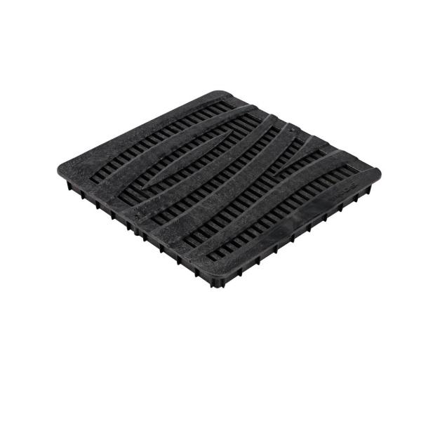 12 in. Plastic Square Drainage Catch Basin Grate with Wave Design in Black