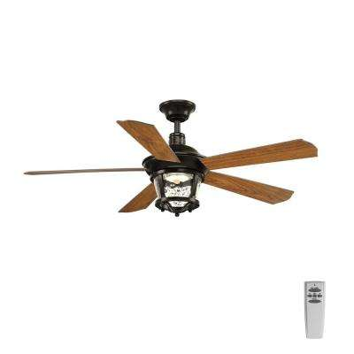 Smyrna Collection 52 in. LED Antique Bronze Ceiling Fan