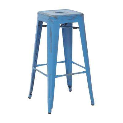 Bristow 30 in. Antique Royle Blue Metal Barstool (4-Pack)