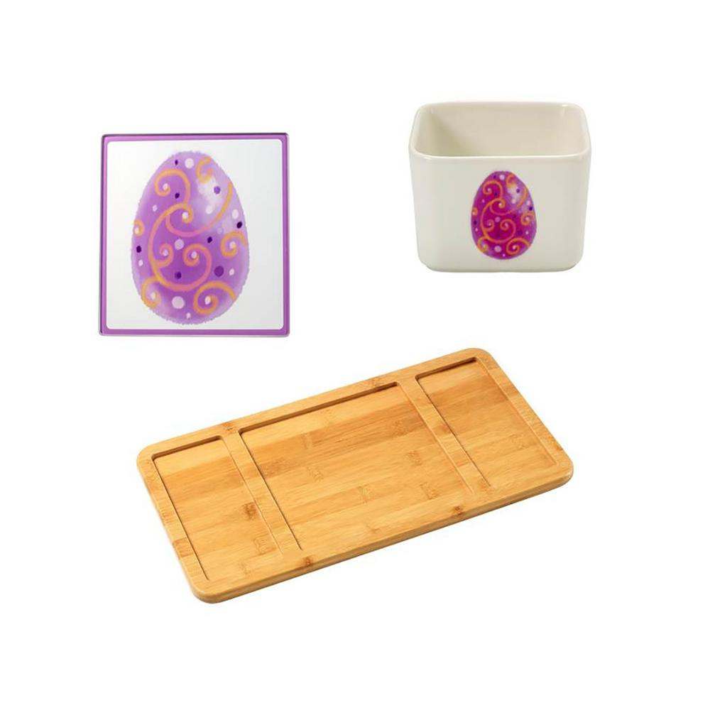 Bamboo Cheese Board, Easter Glass Cutting Board and Square Porcelain Easter