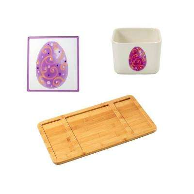 Bamboo Cheese Board, Easter Glass Cutting Board and Square Porcelain Easter Appetizer Bowl