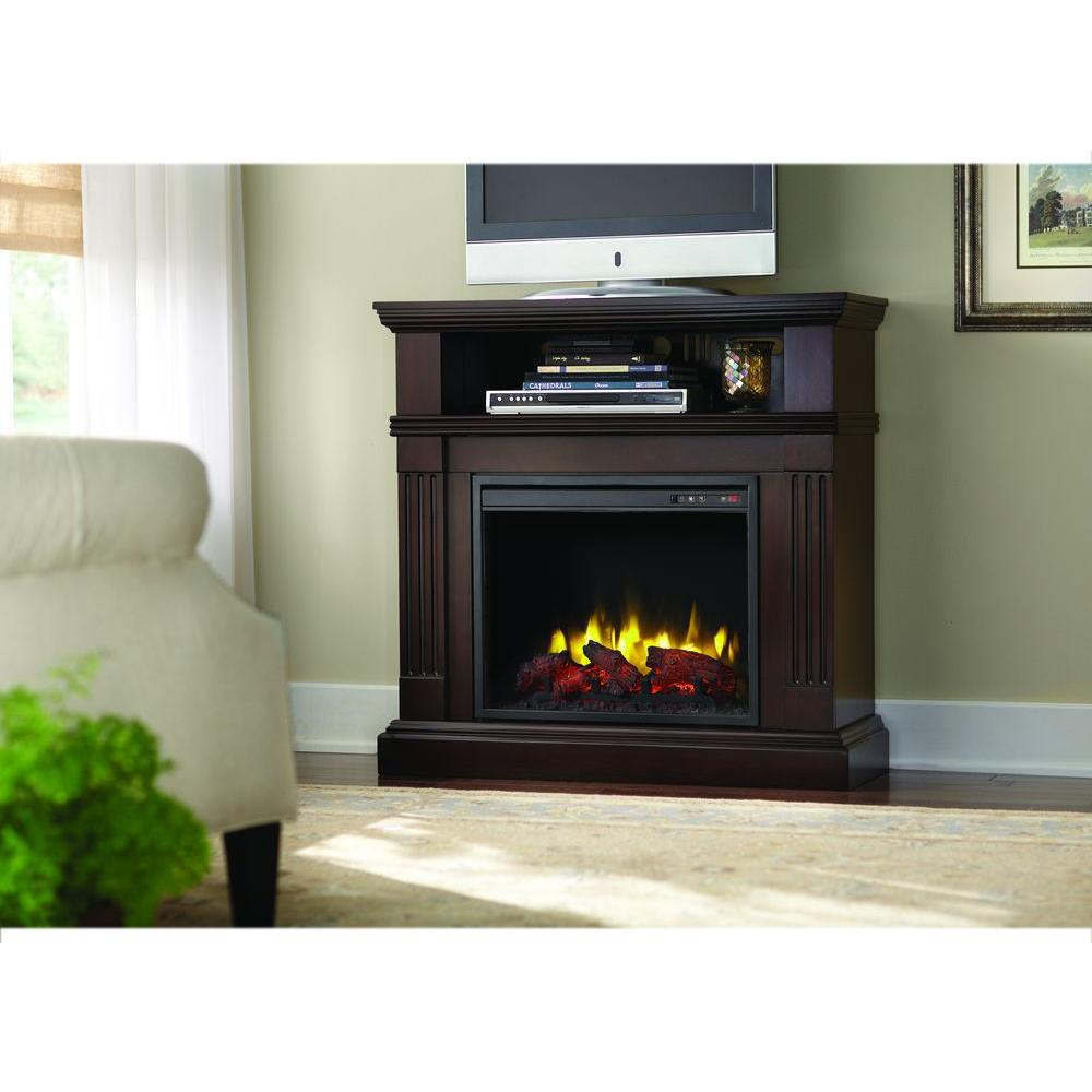 Edison 40 in. Convertible Media Console Electric Fireplace in Tobacco
