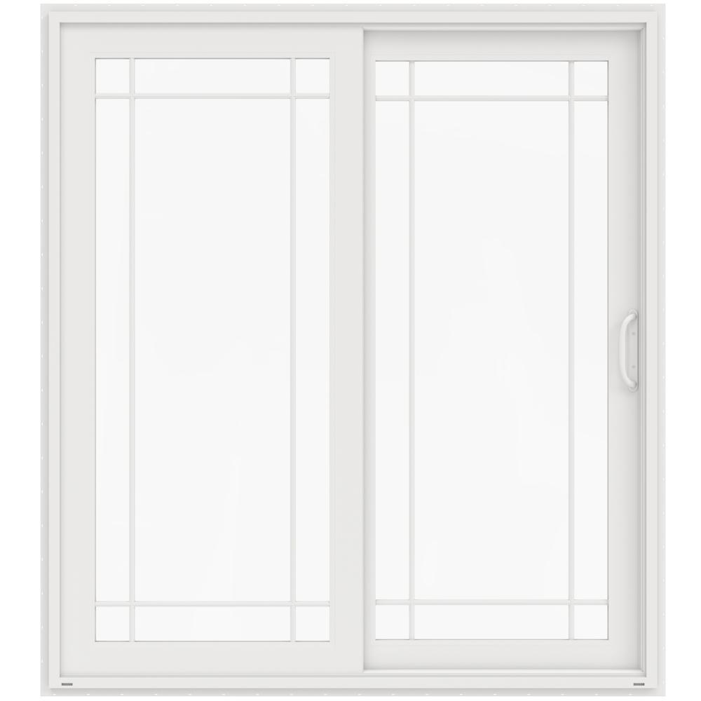 72 in. x 80 in. V-4500 White Prehung Right-Hand Sliding French 9 Lite Vinyl Patio Door
