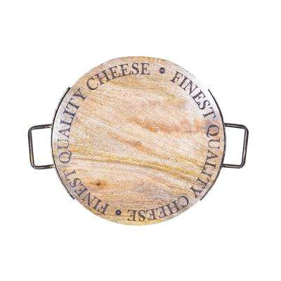 20 in. Wood Cheese Board with Metal Handle