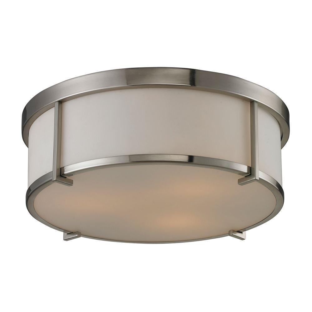 Titan Lighting 3-Light Brushed Nickel Ceiling Flush Mount