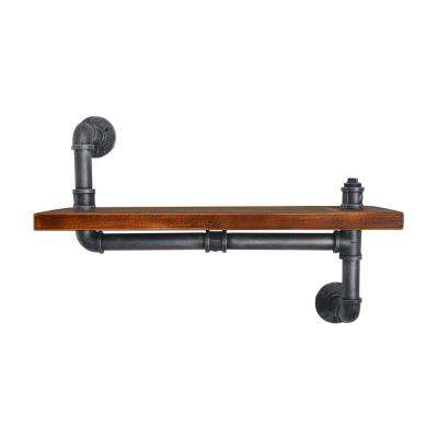 Bruges Industrial Floating Silver Brushed Gray Pipe Wall Shelf with Walnut Wood