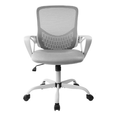 Gray Office Chair Ergonomic Desk Task Mesh Chair with Armrests Swivel Adjustable Height