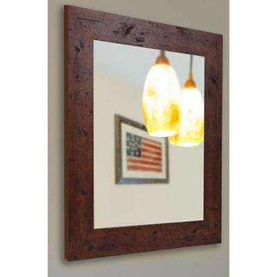 35.5 in. x 29.5 in. Rustic Dark Walnut Non Beveled Decorative Wall Mirror