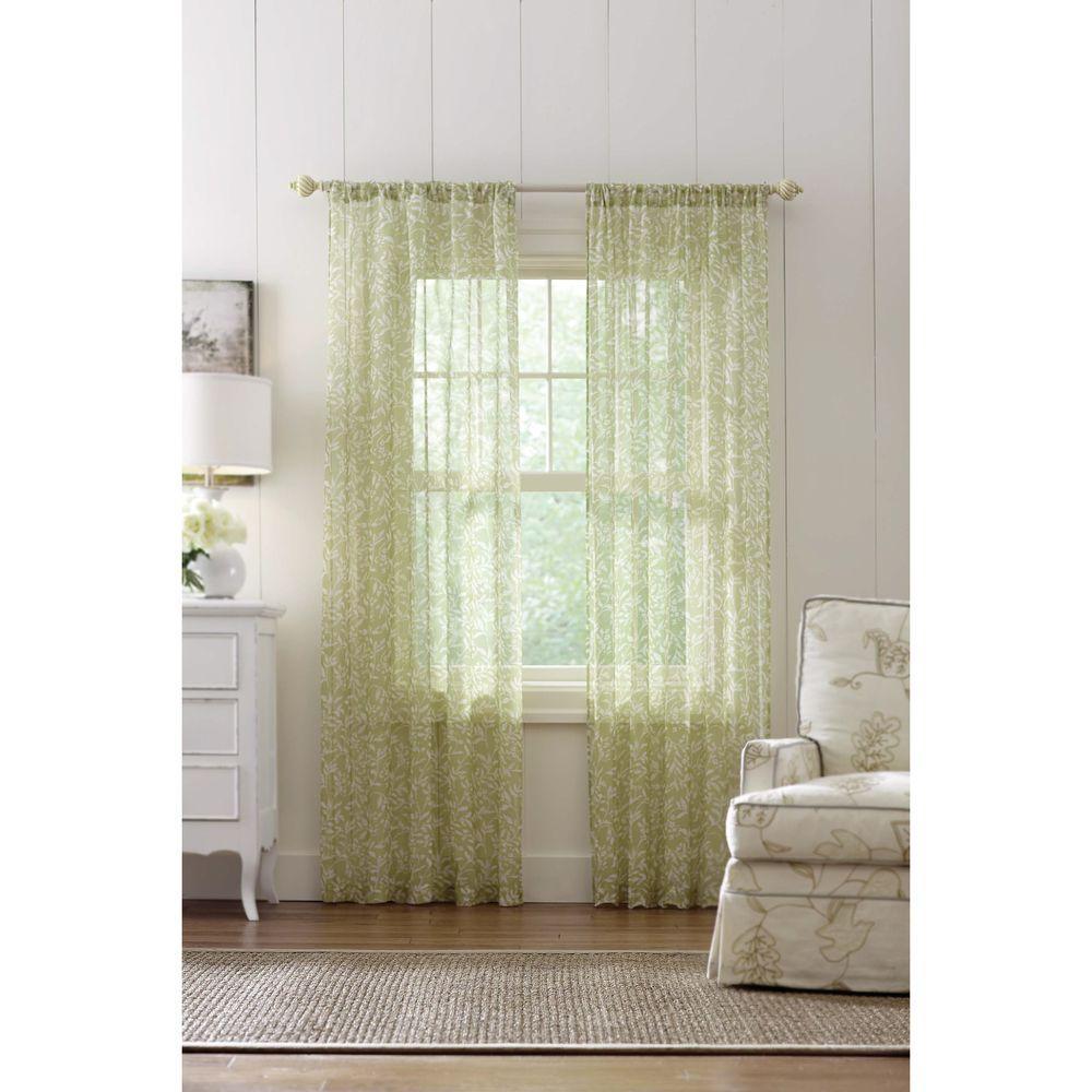 Sheer Green Dashwood Rod Pocket Printed Sheer Curtain - 52 in. W x 84 in. L