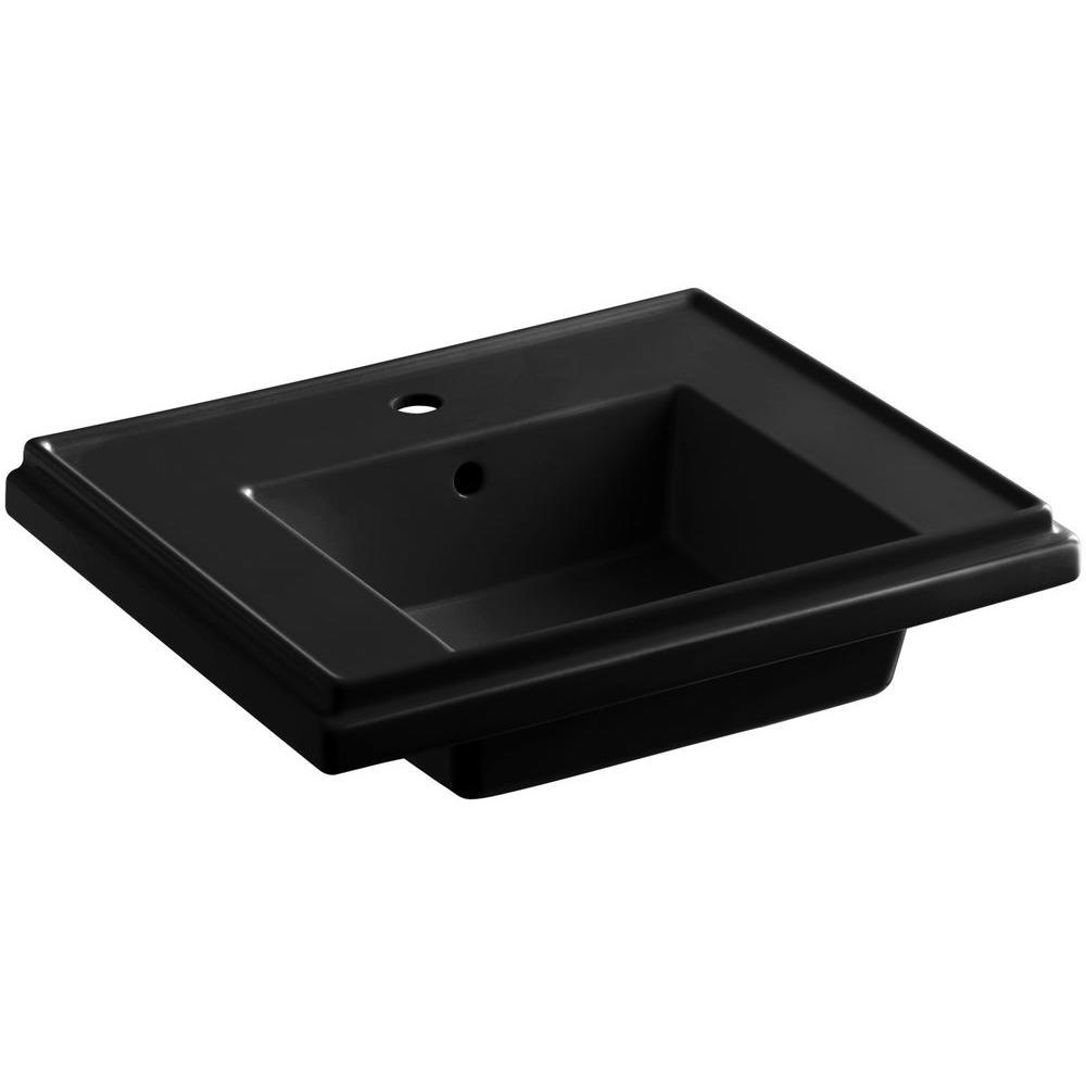 Tresham 24 in. Fireclay Pedestal Sink Basin in Black Black with Overflow Drain