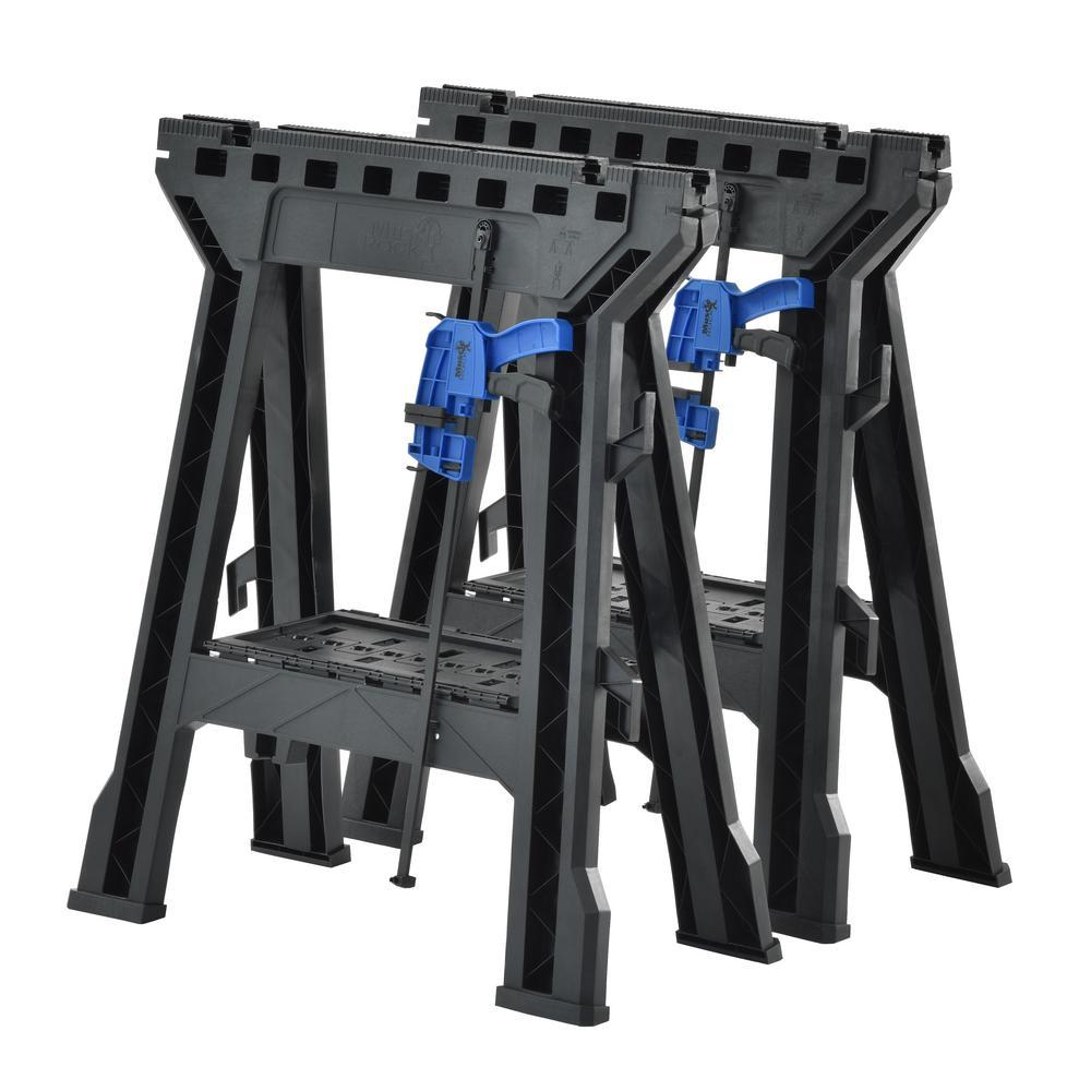 Muscle Rack 29 in. Heavy-Duty Folding Sawhorse (2-Pack)