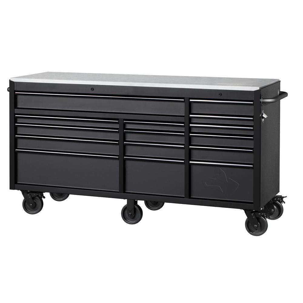 Husky Heavy-Duty 72 in. W x 24 in. D 15-Drawer Tool Chest Mobile Workbench w/ Stainless Steel Top and Dual Locks, Matte Black
