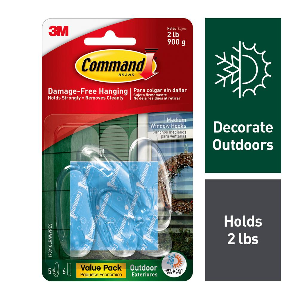 Command Outdoor Medium Clear Window Hooks with Clear Strips Value Pack