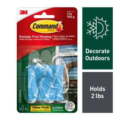 Outdoor Medium Clear Window Hooks with Clear Strips Value Pack