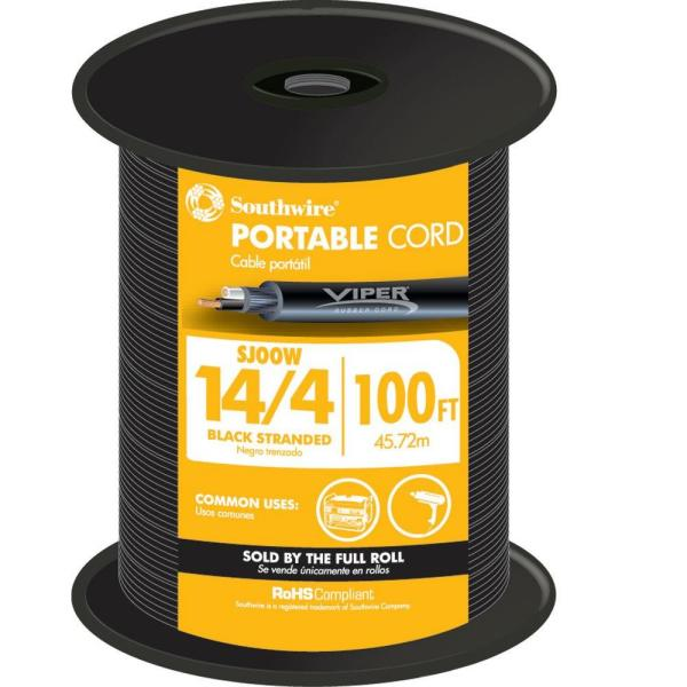 100 ft. 14/4 300-Volt CU Black Flexible Portable Power SJOOW Cord