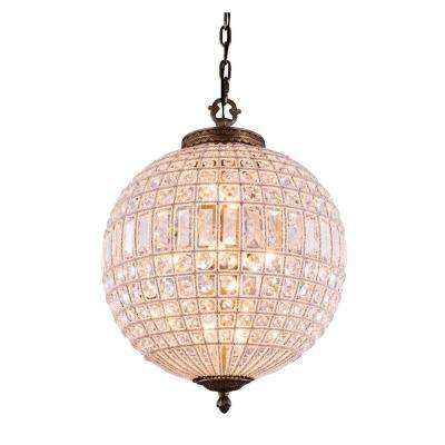 Olivia 3-Light French Gold Chandelier with Clear Crystal