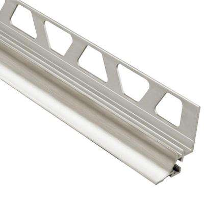 Dilex-AHKA Brushed Nickel Anodized Aluminum 9/16 in. x 8 ft. 2-1/2 in. Metal Cove-Shaped Tile Edging Trim