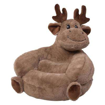 Brown Children's Plush Moose Character Chair