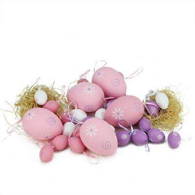 3.25 in. Pastel Pink White and Purple Painted Floral Spring Easter Egg Ornaments (Set of 29)