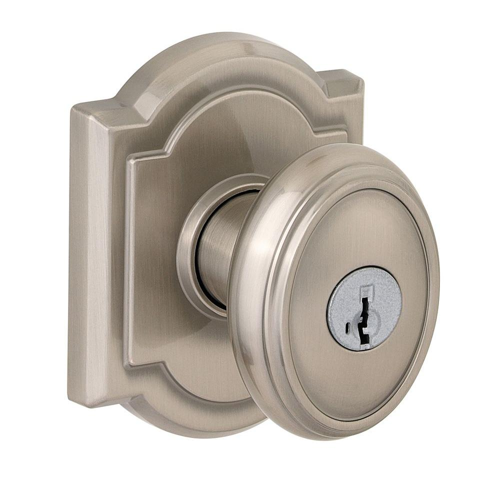 Entry Brushed Nickel Keyed Oval Egg Handle Knob Door Lock Kwikset Keyway