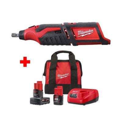 M12 12-Volt Lithium-Ion Cordless Rotary Tool with One 3.0Ah and One 1.5Ah Battery, Charger and Bag