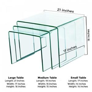 Fab glass and mirror 38 in thick 3 pieces clear bent glass nest 2 watchthetrailerfo