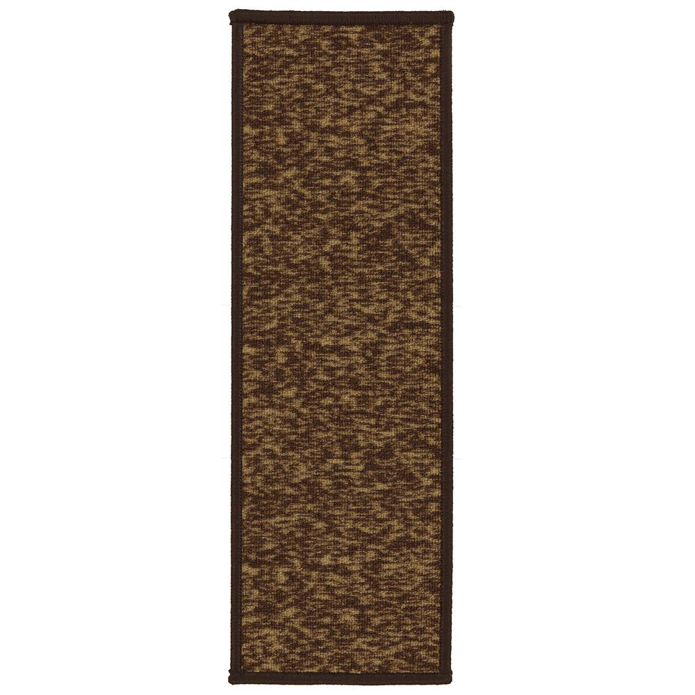Ottomanson Escalier Collection Brown 8 in. x 26 in. Rubber Back Stair Tread (Set of 13)