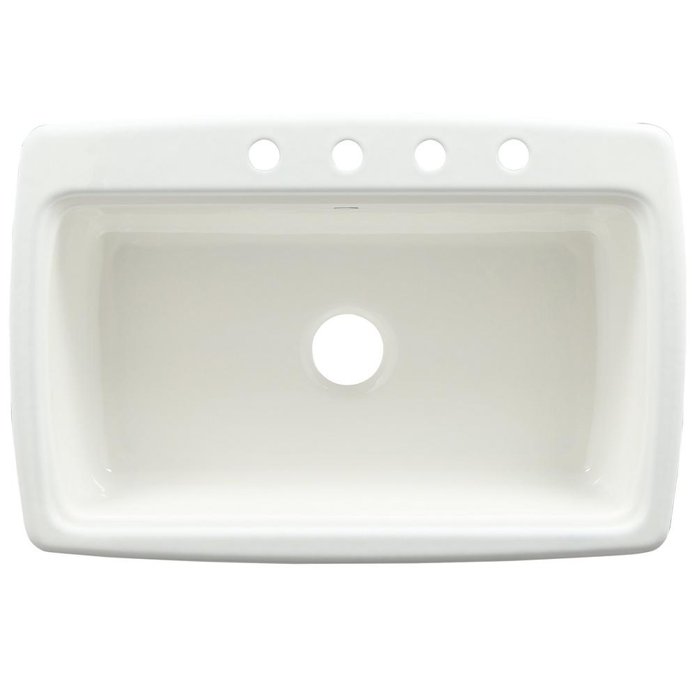 Kohler Cape Dory Drop In Cast Iron 33 In 4 Hole Single Bowl Kitchen