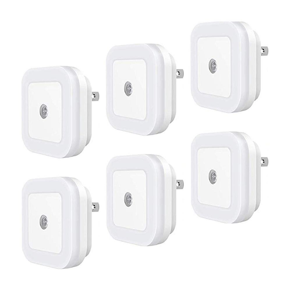 EcoCover Plug in LED Night Light with Dusk-to-Dawn Sensor for Bedroom,  Bathroom, Kitchen, Hallway, Stairs Daylight White (6-Pack)
