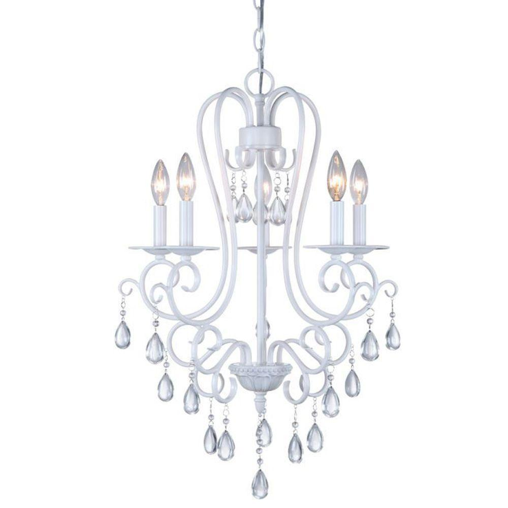 Dsi 5 light white mini chandelier with crystal accents