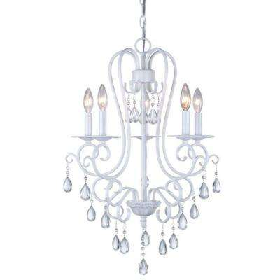 5-Light White Mini Chandelier with Crystal Accents