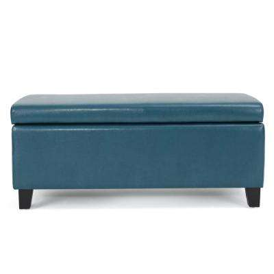 Breanna Teal Leather Storage Ottoman
