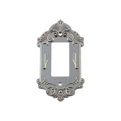 Victorian Switch Plate with Single Rocker in Bright Chrome