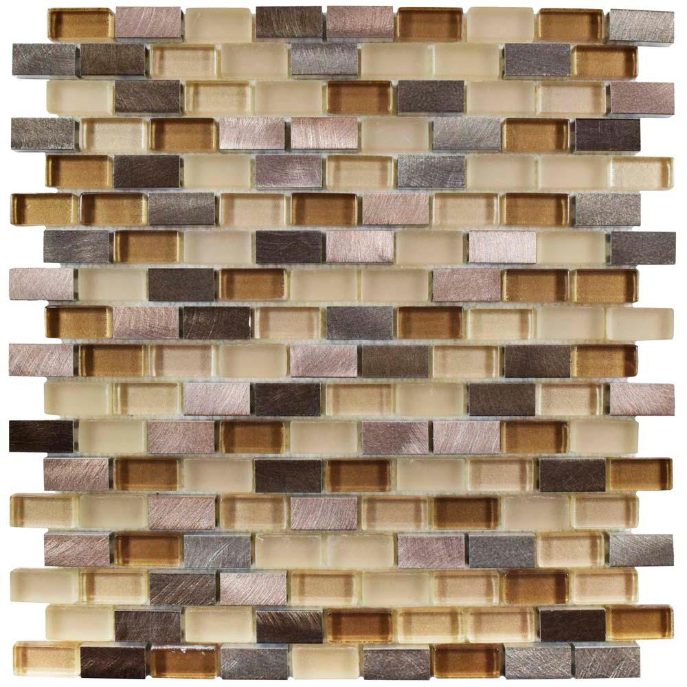Merola Tile Fusion Mini Subway Amador 11-1/4 in. x 12 in. x 6 mm Brushed Aluminum and Glass Mosaic Tile