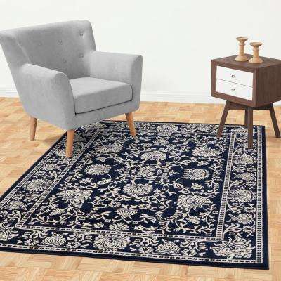 Jasmin Collection Oriental Mahal Design Navy and Ivory 5 ft. x 7 ft. Area Rug