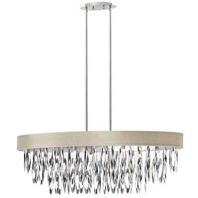 Allegro 8-Light Polished Chrome Oval Chandelier with Pebble Shade