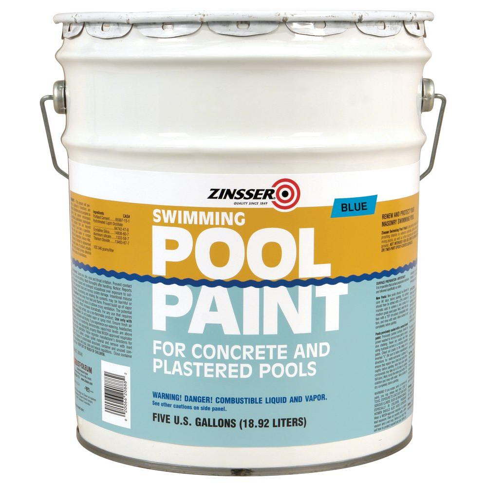 zinsser 5 gal blue flat oilbased swimming pool paint260542 the home depot
