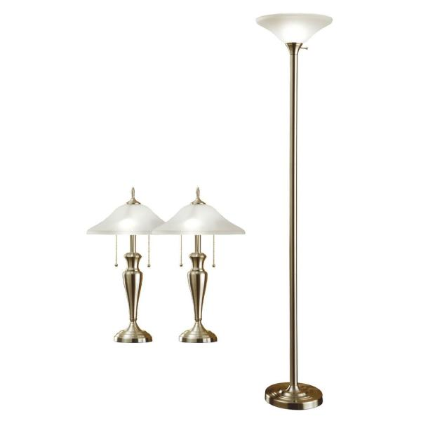 71 in. Torchiere and 24 in. Table Lamps with a Brushed Steel and Quality Hammered Glass Shades (3-Piece)