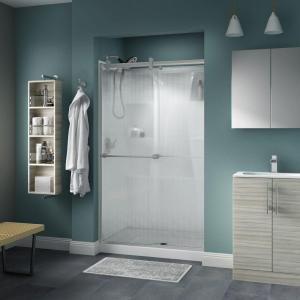 Delta Crestfield Semi-Frameless Contemporary Sliding Shower Door in Nickel w/ Droplet Glass