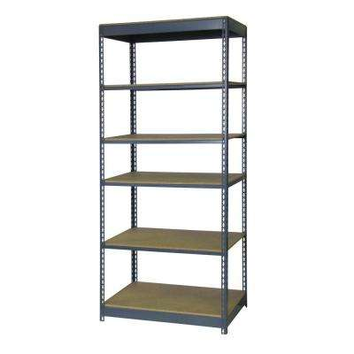 84 in. H x 36 in. W x 18 in. D 6-Shelf Boltless Steel Shelving Unit in Gray