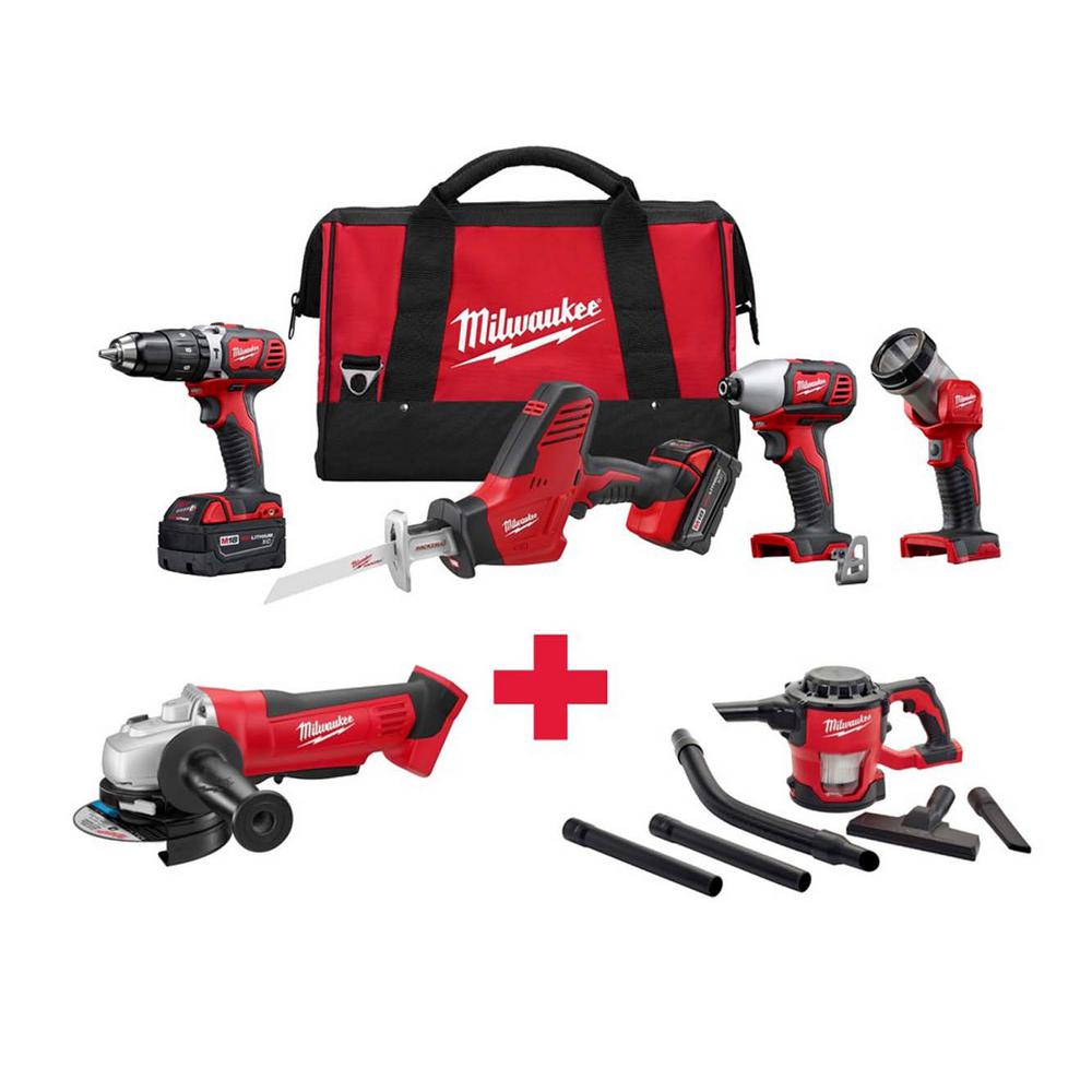 M18 18-Volt Lithium-Ion Cordless Combo Kit (4-Tool) with Free M18 Grinder