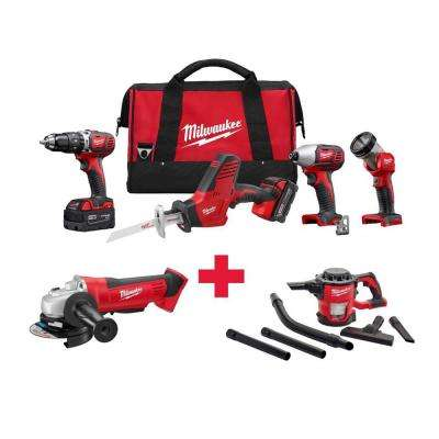 M18 18-Volt Lithium-Ion Cordless Combo Kit (4-Tool) with Free M18 Grinder and M18 Vacuum