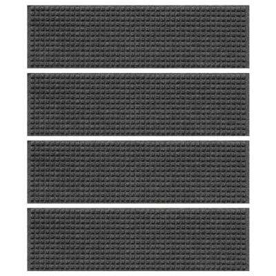 Charcoal 8.5 in. x 30 in. Squares Stair Tread Cover (Set of 4)