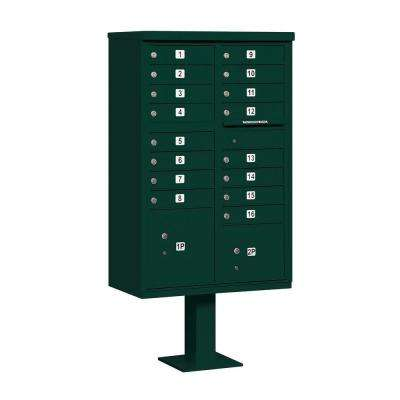 3300 Series Green Private 16 A Size Doors Type III Cluster Box Unit