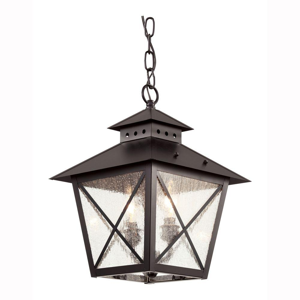 Bel Air Lighting Farmhouse 2-Light Outdoor Hanging Black Lantern with Seeded Glass