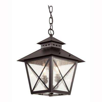 Farmhouse 2-Light Outdoor Hanging Black Lantern with Seeded Glass