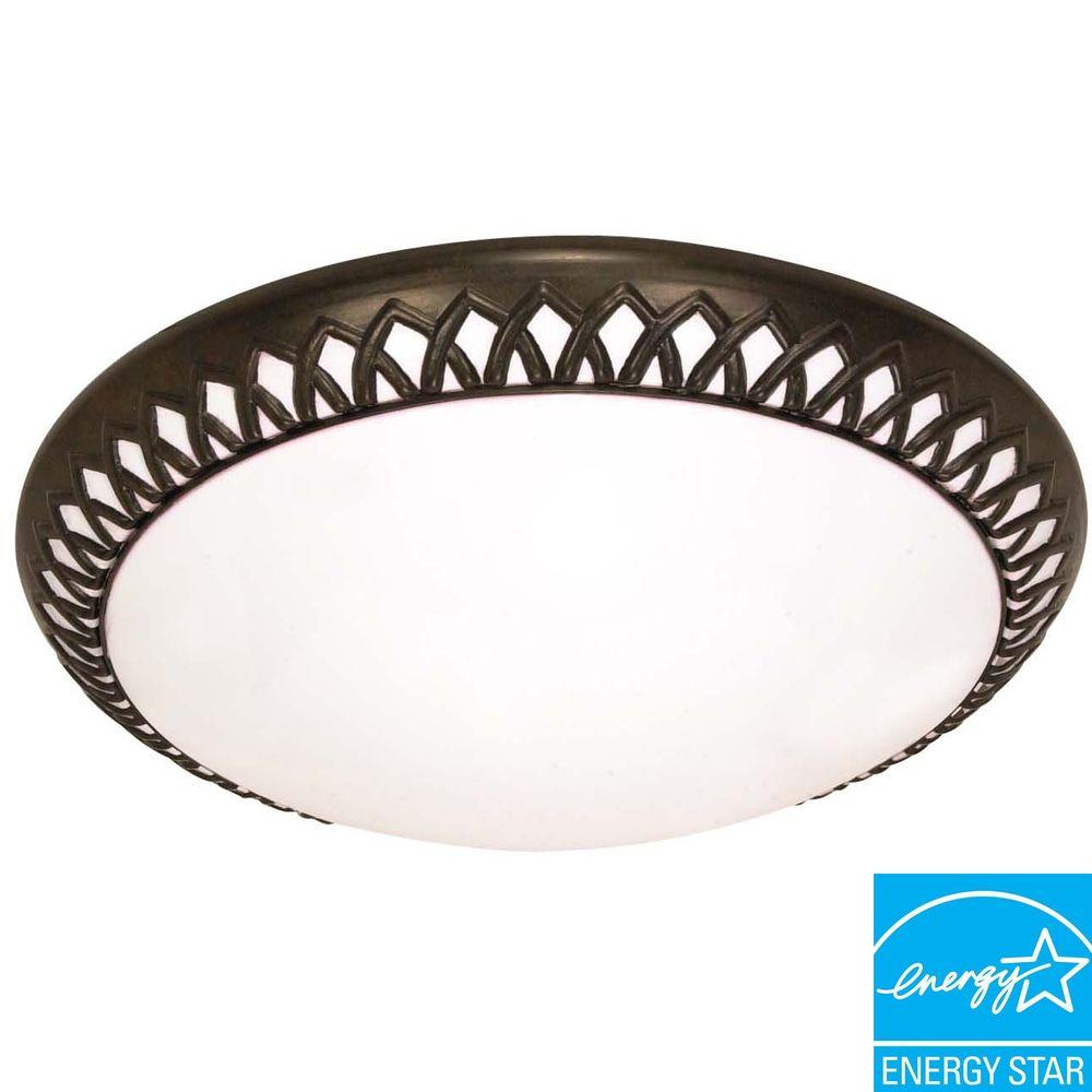 Green Matters 3-Light Old Bronze Ceiling Flushmount