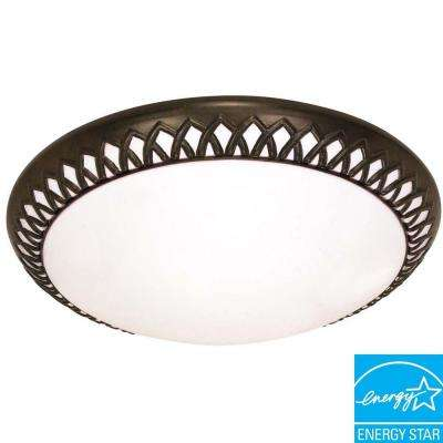 3-Light Old Bronze Ceiling Flushmount
